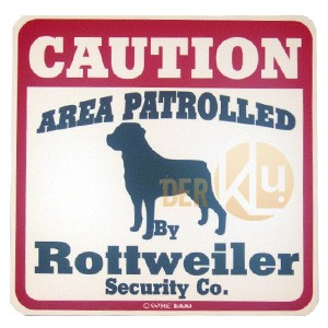 Hinweisschild - Beware of the Dog, Warnschild Rottweiler