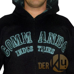 Commando Logo Hoodie Jacke, City Applikationen